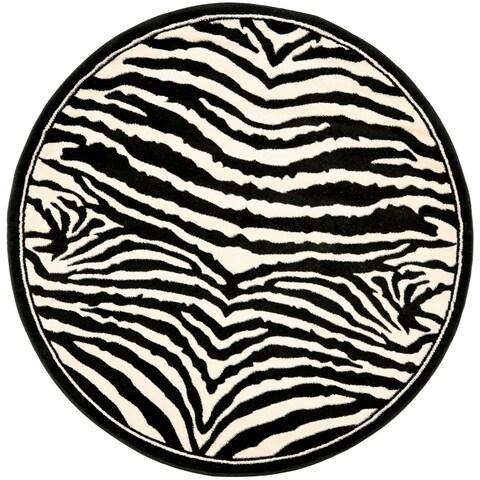 Safavieh Lyndhurst Contemporary Zebra Black/ Ivory Rug - 8' x 8' Round