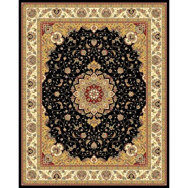 Lyndhurst Collection Traditional Black/ Ivory Rug (9 X 12)