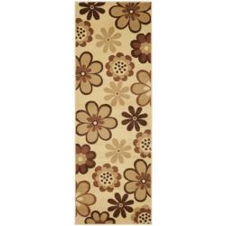 Safavieh Porcello Fine-spun Daises Floral Ivory/ Brown Runner Rug (2'4 x 6'7)