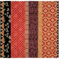 Safavieh Handmade Rodeo Drive Bohemian Collage Rust/ Gold Wool Rug - 6' x 6' Square