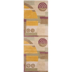 Safavieh Handmade Rodeo Drive Modern Abstract Beige Wool Runner Rug (2'6 x 14')