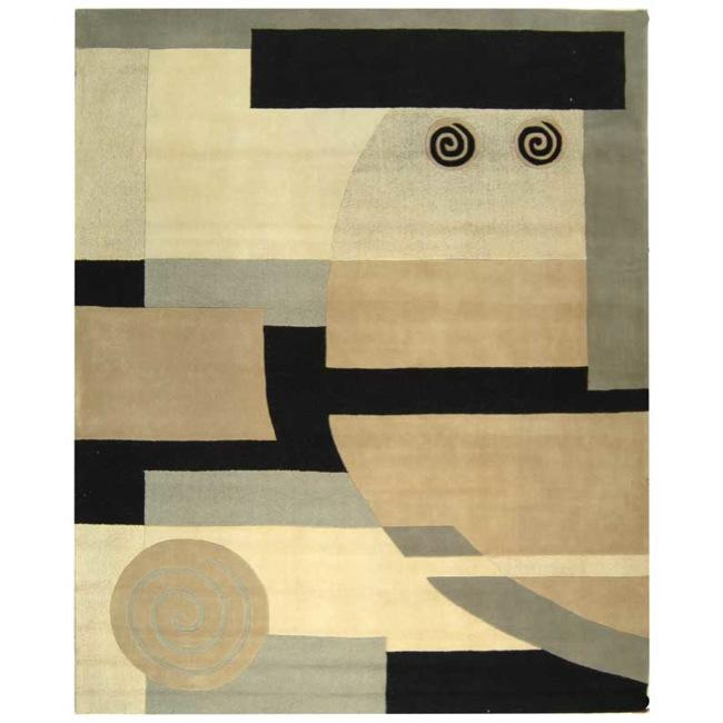 Safavieh Handmade Rodeo Drive Modern Abstract Ivory/ Grey Wool Rug - 9'6 x 13'6