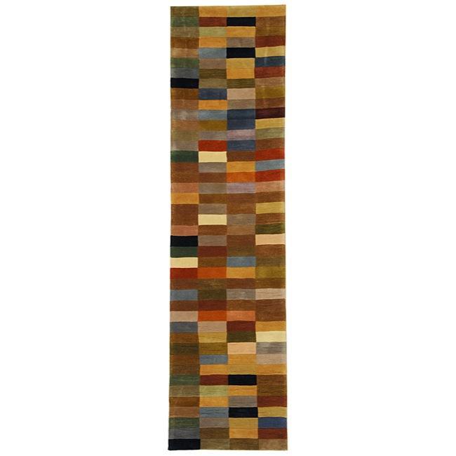 Safavieh Handmade Rodeo Drive Modern Abstract Multicolored Wool Runner Rug (2'6 x 14')