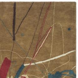 Safavieh Handmade Rodeo Drive Modern Abstract Brown Wool Rug (7'6 x 9'6) - Thumbnail 1