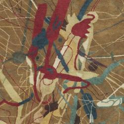 Safavieh Handmade Rodeo Drive Modern Abstract Brown Wool Rug (7'6 x 9'6) - Thumbnail 2