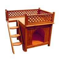 Merry Products Balcony View Natural Wood Dog House