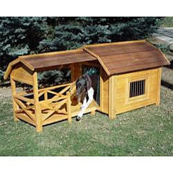 Merry Products Wooden Barn Dog House, Brown