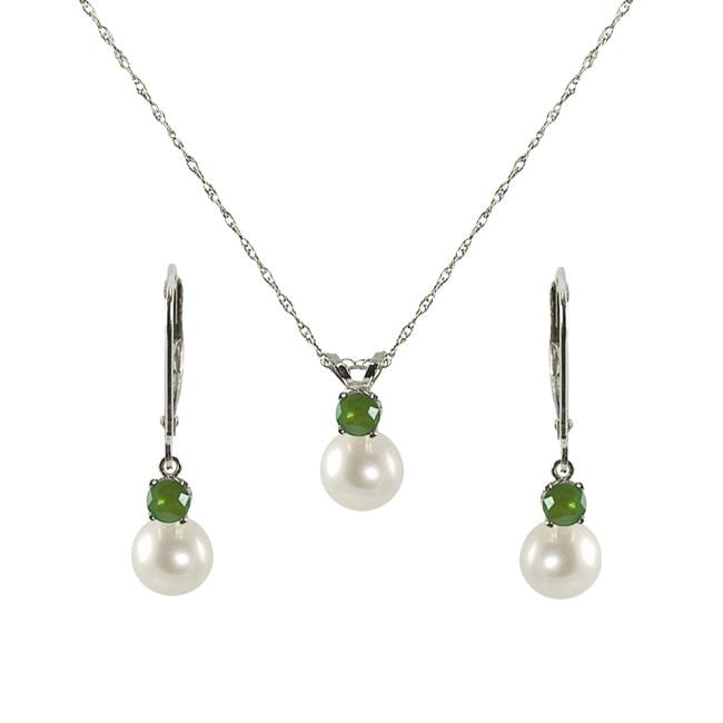 Pearls For You FW Pearl and Emerald May Birthstone Jewelry Set