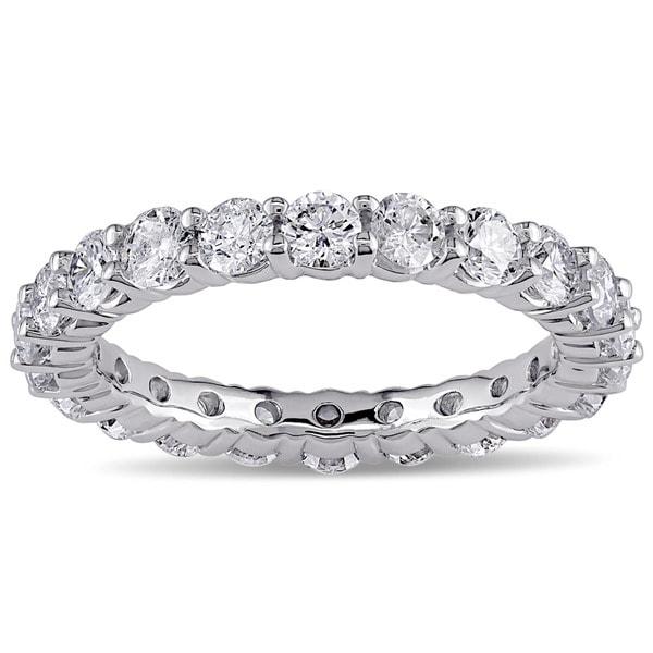 Miadora 18k White Gold 3ct TDW Diamond Eternity Ring (H-I, SI1-SI2)
