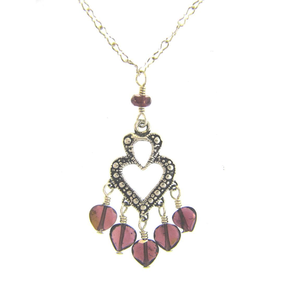 Misha Curtis Sterling Silver and Garnet Heart Pendant Necklace
