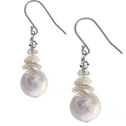 Misha Curtis Silver Coin Pearl. Moonstone, & Crystal Earring
