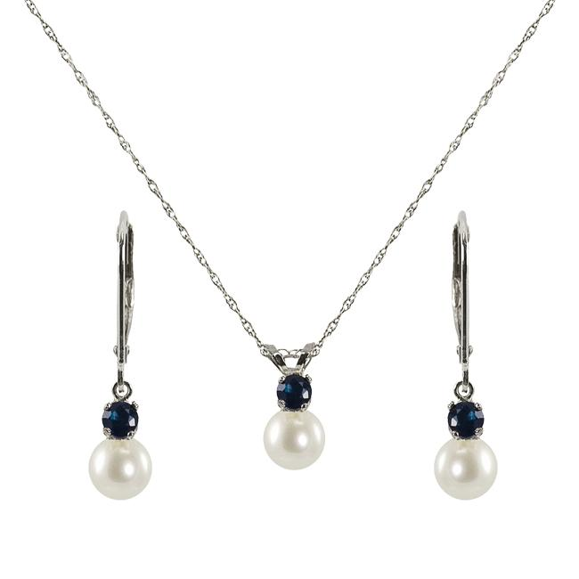 Pearls For You FW Pearl and Sapphire September Birthstone Jewelry Set