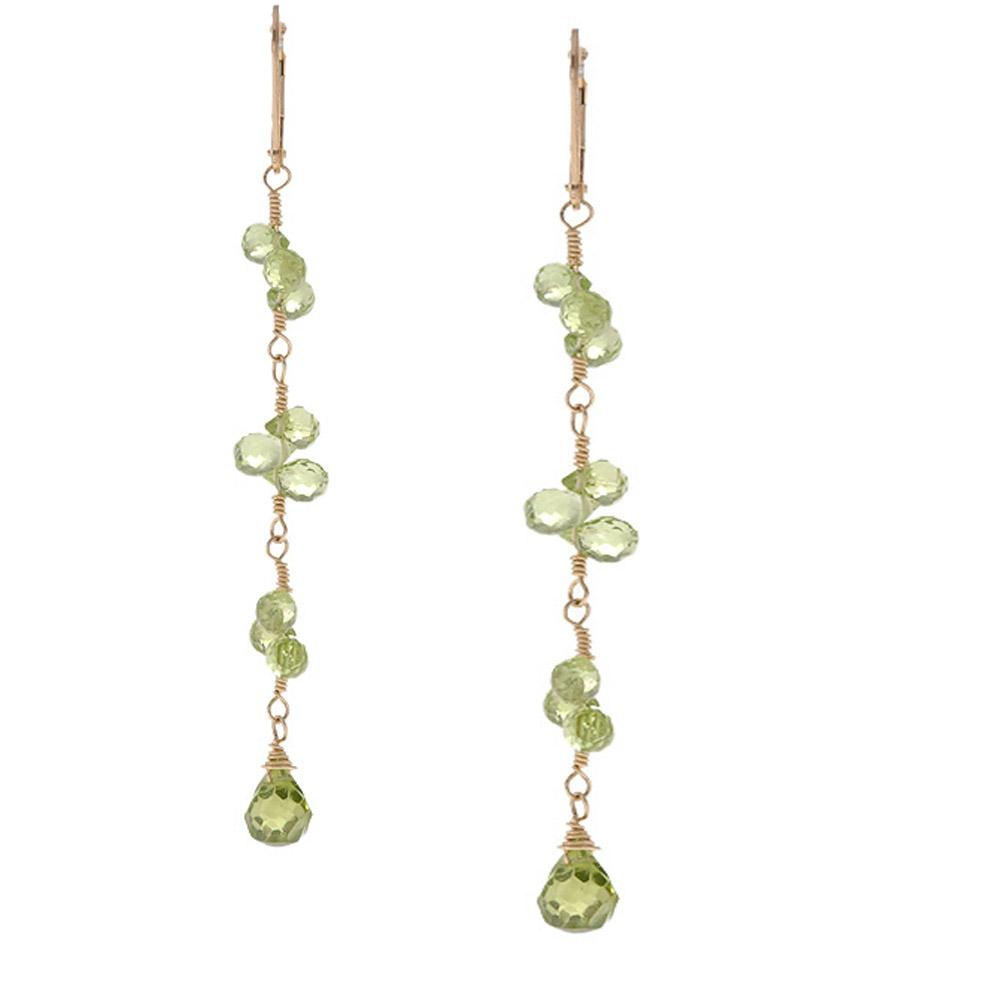 Misha Curtis Goldfill 14k Faceted Peridot Briolette Earrings