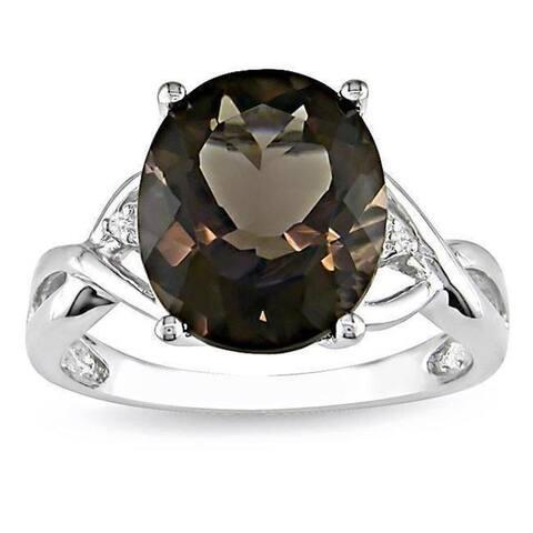 Miadora Sterling Silver Smokey Quartz and Diamond Fashion Ring
