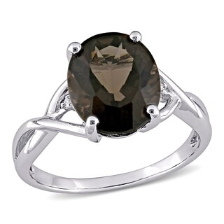 Miadora Sterling Silver Smokey Quartz and Diamond Fashion Ring