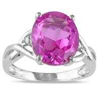 Miadora Sterling Silver Created Pink Sapphire and Diamond Fashion Ring