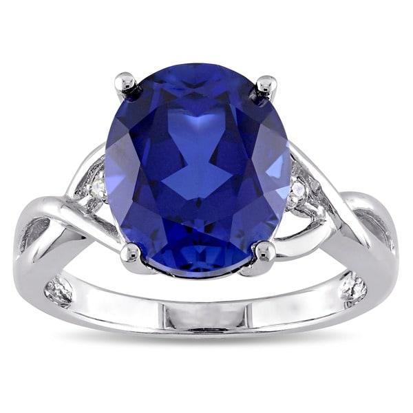 Miadora Sterling Silver Created Sapphire and Diamond Fashion Ring