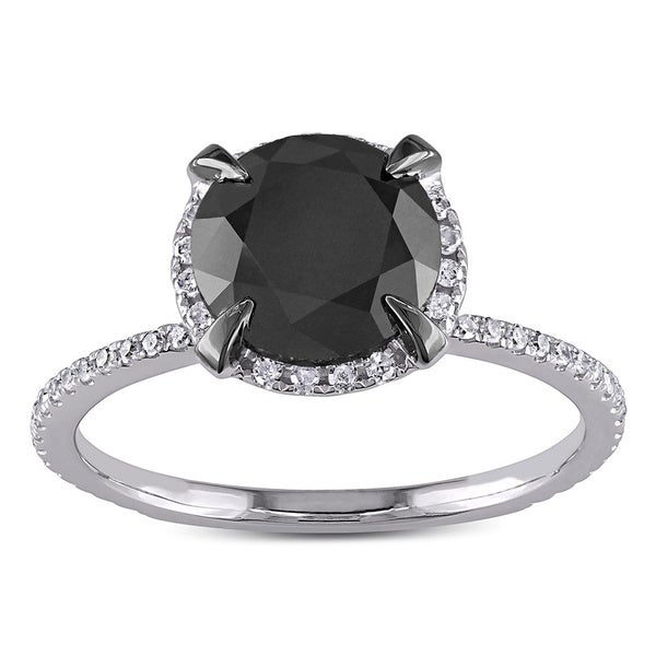 Miadora 10k White Gold 2 3/4ct TDW Black and White Halo Diamond Solitaire Engagement Ring (G-H, I2-I3)