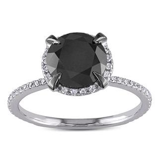 Miadora 10k White Gold 2 3/4ct TDW Black and White Halo Diamond Solitaire Engagement Ring