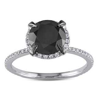 Miadora 10k White Gold 2 3/4ct TDW Black and White Halo Diamond Solitaire Engagement Ring