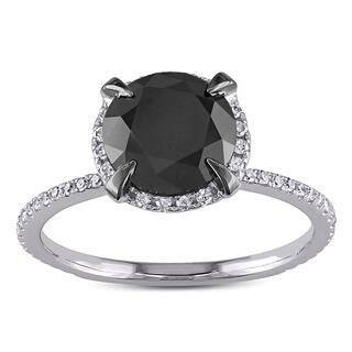 Miadora 10k White Gold 2 3/4ct TDW Black and White Halo Diamond Solitaire Engagement Ring|https://ak1.ostkcdn.com/images/products/5301367/P13111808.jpg?impolicy=medium