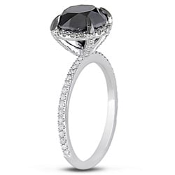 Miadora 10k White Gold 3 3/4ct TDW Black and White Diamond Ring