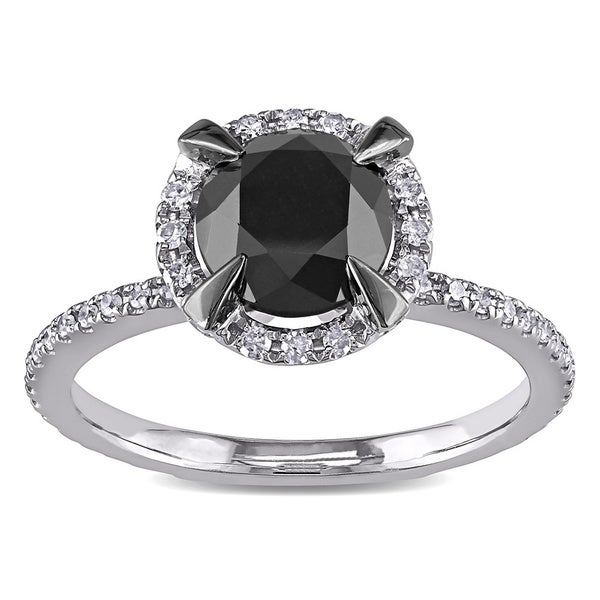 Miadora 2 CT Black and White Diamond TW Fashion Ring 10k White Gold GH I2;I3 Black Rhodium Plated