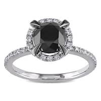 Miadora 10k White Gold with Black Rhodium 2 CT Black and White Diamond Halo Engagement Ring