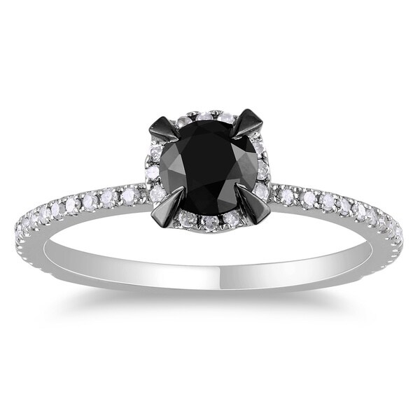 Miadora 10k White Gold 1ct TDW Round Black and White Diamond Ring