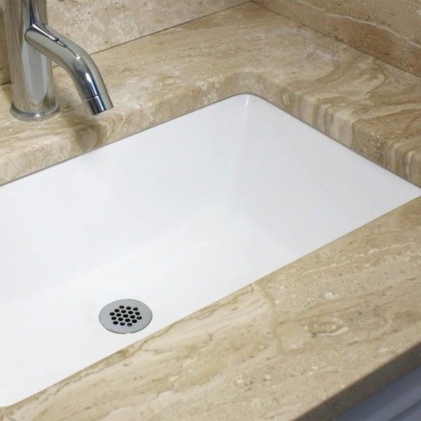 Narrow Undermount Sink : Highpoint Collection White 19x11-inch Undermount Ceramic Vanity Sink ...
