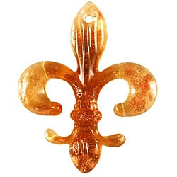 Murano Inspired Glass Amber Yellow Fleur Di Lis Pendant