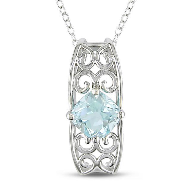 Miadora Sterling Silver Blue Topaz Fashion Necklace