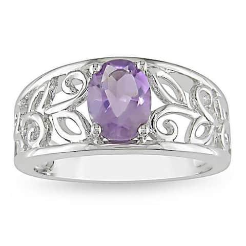 Miadora Sterling Silver Amethyst Fashion Ring
