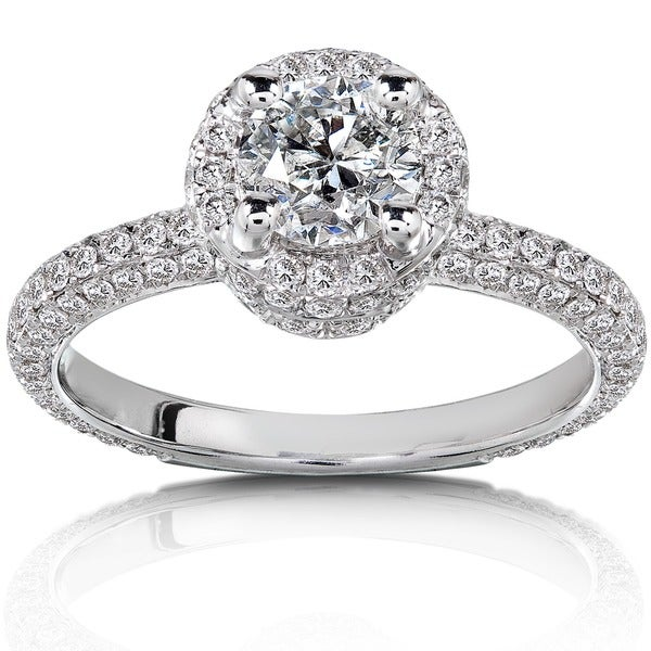 Annello by Kobelli 14k White Gold 1 1/2ct TDW Diamond Halo Engagement Ring by Kobelli (H-I, I1-I2)