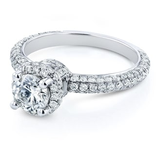 Annello by Kobelli 14k White Gold 1 1/2ct TDW Diamond Halo Engagement Ring