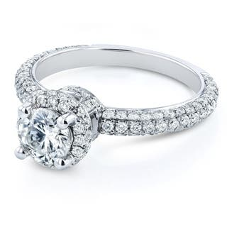 Annello by Kobelli 14k White Gold 1 1/2ct TDW Diamond Halo Micro Pave Engagement Ring