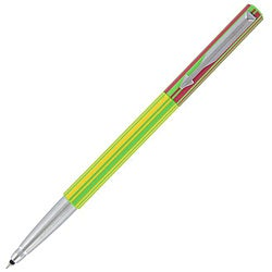 Parker Vector Green/Yellow/Red Striped Plastic/Metal Rollerball Pen