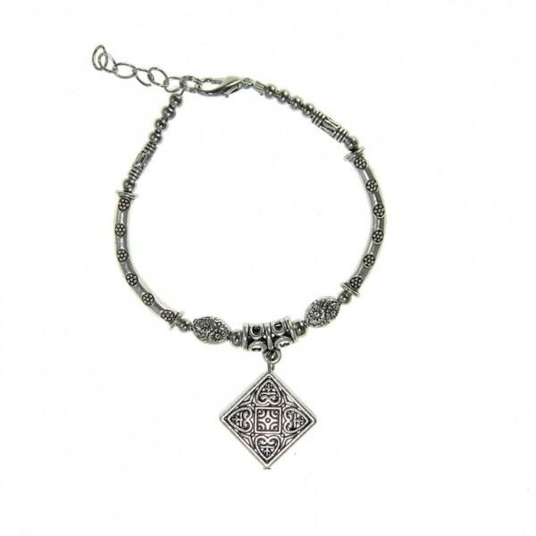 Handmade Tibetan Silver Square Charm Bracelet (China)