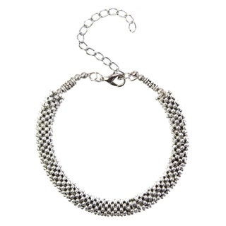 Tibetan Silver Beaded Bangle Bracelet (China)
