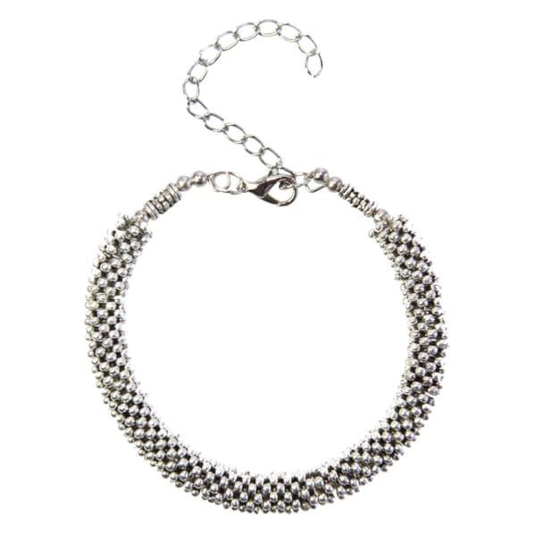 Handmade Tibetan Silver Beaded Bangle Bracelet (China)