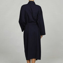Women's Navy Organic Cotton Bath Robe - Thumbnail 1