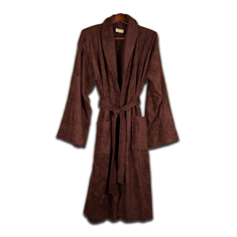 Unisex Turkish Organic Cotton Terry Bath Robe - Chocolate