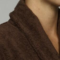 Unisex Turkish Organic Cotton Terry Bath Robe - Chocolate - Thumbnail 2