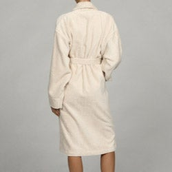 Unisex Turkish Organic Cotton Terry Bath Robe - Ecru - Thumbnail 1
