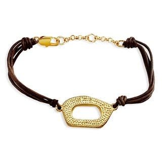 Rhodium-plated Oval Leather Bracelet
