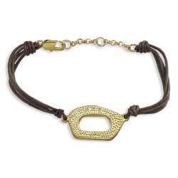 Goldplated Oval Brown Leather Bracelet