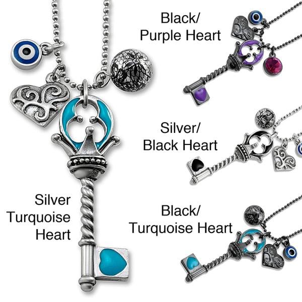 West Coast Jewelry Silvertone Multi-charm Blue Key Evil Eye 18-inch Pendant Necklace