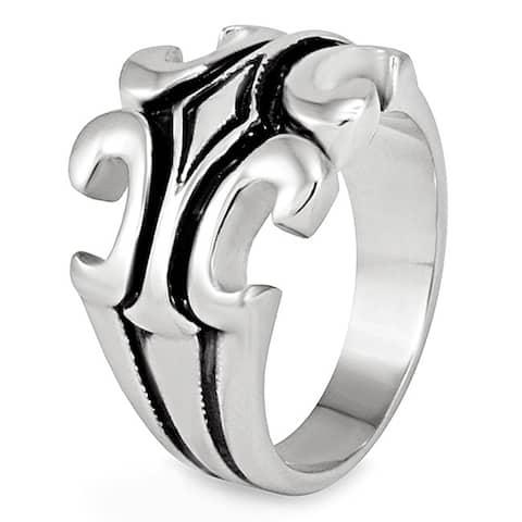 Men's Polished Stainless Steel Fleur de Lis Grooved Ring - 21mm Wide