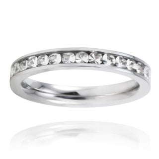 Stainless Steel Crystal Polished Eternity Band (5 options available)