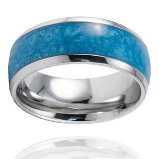 High-polish 6-gram Stainless Steel Blue Resin Inlay Ring (9 mm x 3 mm)